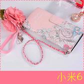 【萌萌噠】Xiaomi 小米6  韓國立體五彩玫瑰保護套 帶掛鍊側翻皮套 插卡 錢包式皮套 手機套 硬殼