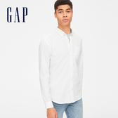 Gap男裝 柔軟彈力府綢長袖鈕扣襯衫 441129-光感白