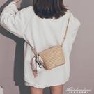 草編小包包女新款森系編織絲巾仙女水桶包少女斜背沙灘包 黛尼時尚精品