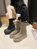 歐洲風貝殼頭彈力靴厚底鬆糕坡跟超高跟馬丁靴機車靴襪靴短靴女鞋『快速出貨』