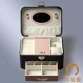 多層大首飾盒首飾收納盒耳環盒飾品收納盒帶鎖帶鏡【宅貓醬】