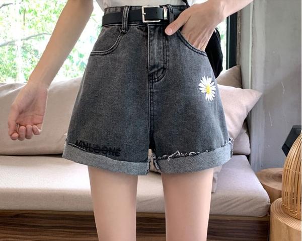 褲子熱褲闊腿褲S-5XL大碼胖mm牛仔短褲女高腰寬鬆顯瘦小雛菊a字闊腿熱褲R12-1161.胖丫