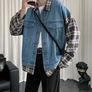 春秋季超火ins牛仔拼接格子單寧夾克 男韓版潮流學生寬鬆長袖襯衣外套 『bad boy時尚』