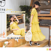 《DA7604》小性感露背後綁帶鬆緊領層次荷葉邊雪紡長洋裝--適 XL~6L OrangeBear