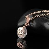 項鍊 玫瑰金 鑲鑽純銀吊墜-酷炫骷髏頭生日情人節禮物女飾品73dw180[時尚巴黎]
