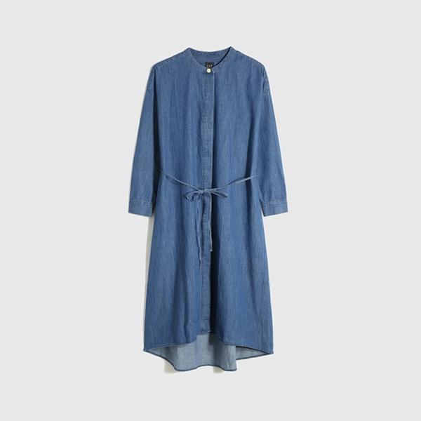 Gap女裝 純棉寬鬆式青年布洋裝 670051-中度水洗