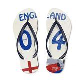 QWQ創意鞋-  世界盃足球紀念鞋 英格蘭 細帶女款天然橡膠人字拖