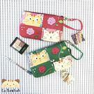 化妝包~雅瑪小舖日系貓咪包 啵啵貓與玫瑰花化妝包/護照夾/收納袋/拼布包包