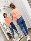 棉麻上衣外套  短款衛衣女秋裝新款韓版寬鬆顯瘦慵懶風字母印花酷潮長袖上衣    都市時尚
