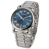 EMPORIO ARMANI三眼計時藍錶盤不鏽鋼男士腕錶43mm(AR11132)270204