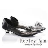 ★零碼出清★Keeley Ann品蝴蝶鑽飾透視低跟魚口鞋(黑色)