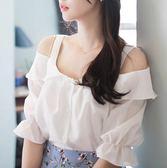 白色雪紡衫短袖夏季新款韓版寬鬆超仙甜美一字肩吊帶露肩上衣女潮 全館85折