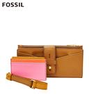 FOSSIL WILLA 扣帶造型含零錢匣手拿長夾-棕色 SL6335231