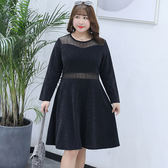 中大尺碼~氣質款網紗拼接長袖洋裝(XL~4XL)