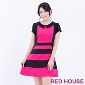 RED HOUSE-蕾赫斯-撞色條紋短袖洋裝(桃紅色)