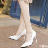 尖頭超高跟鞋細跟淺口單鞋性感宴會女鞋 魔法街