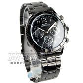 BETHOVEN 日本機芯 都會仿三眼造型時刻 中性錶/女錶/男款/男錶/都適合 IP黑電鍍 BE2028黑
