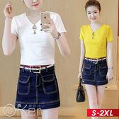 簡約短袖T恤+牛仔短褲裙 S-2XL O-ker歐珂兒 168135