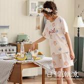 短袖居家服  2019夏季新款睡衣套裝女6535短袖短褲甜美兩件套可外穿