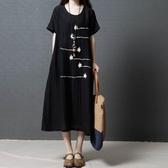 中大呎碼 大碼女裝新款正韓寬鬆遮肚子洋裝 顯瘦短袖棉麻長裙子夏