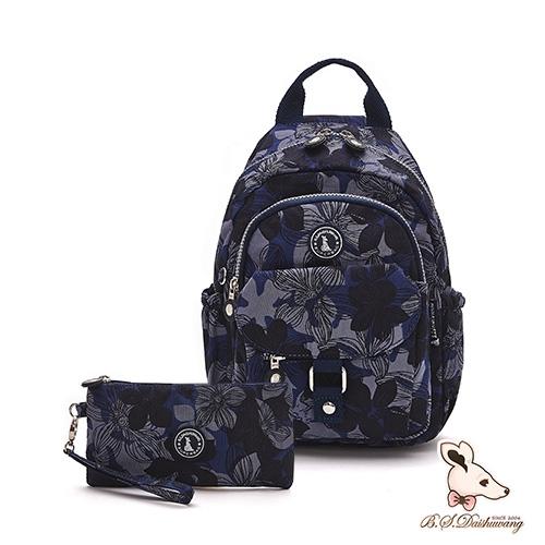 B.S.D.S冰山袋鼠 - 楓糖瑪芝 - 輕旅單肩後背兩用包+零錢包2件組 - 花繪風【Z108】