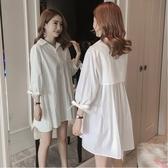 漂亮小媽咪 翻領 洋裝 【D0297】 韓系 純色 白色 長袖 娃娃裝 質感 七分袖 襯衫洋裝 孕婦裝