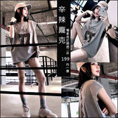 克妹Ke-Mei【AT45670】獨家,SMLK龐克背後釘釦綁帶字母圖印寬鬆T恤上衣