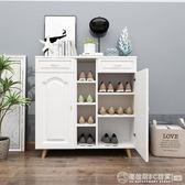 北歐鞋櫃家用門口收納櫃現代簡約玄關櫃換鞋凳組合歐式陽台儲物櫃   《圖拉斯》