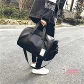 皮質旅行袋 短途旅行包男出差手提包女大容量皮質旅游包行李包袋運動健身包潮