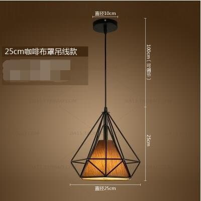 凱蒂熊25cm黑框咖啡罩北歐現代簡約餐廳吊燈loft燈具藝術鑽石鐵藝燈