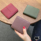 2018新款歐美大牌短款錢包女真皮簡約搭扣錢夾卡位超薄牛皮夾頭層
