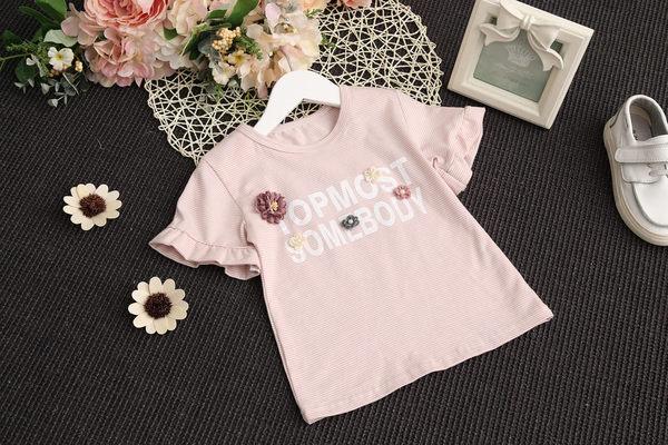 衣童趣♥韓版中小女童 立體花朵荷葉邊袖口短袖上衣+蝴蝶結甜美短裙 兩件式套裝組