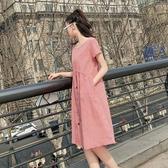 孕婦裙子中長款不顯肚子上衣服夏天時尚款夏裝寬鬆格子洋裝長裙 滿天星