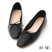 D+AF 氣質甜心.小方頭芭蕾平底娃娃鞋*黑