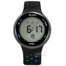 JAGA 捷卡 / M1185-AE / 電子運動 倒數計時 計時碼錶 鬧鈴 防水100米 透氣矽膠手錶 黑藍色 43mm