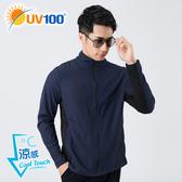 UV100 防曬 抗UV-涼感反光透氣立領外套-男