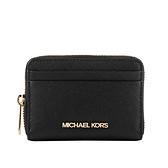 【MICHAEL KORS】金字防刮皮革ㄇ型拉鏈零錢/卡包(黑色) 35H8GTVZ1L BLACK