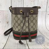 BRAND楓月 GUCCI 古馳 550620 OPHIDIA 經典 GG紋 紅綠條紋 水桶包 小包 肩背包 側背包