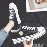 2020夏季新款小雛菊帆布鞋女低筒內增高厚底板鞋韓版百搭潮鞋『小淇嚴選』
