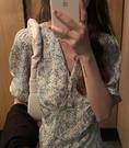 韓版系帶v領碎花連身裙夏季