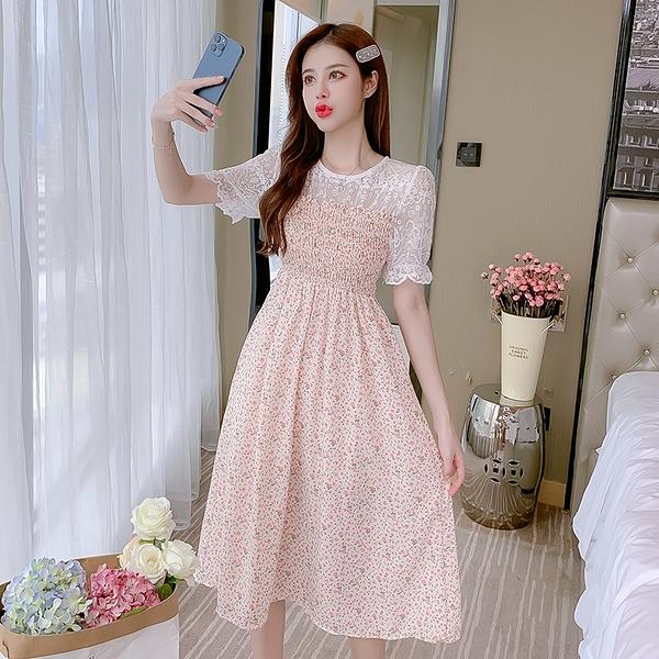 VK旗艦店 韓國風時尚收腰顯瘦氣質拼接碎花短袖洋裝