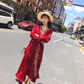 VK旗艦店 韓國民族風復古收腰寬鬆刺繡顯瘦長袖洋裝