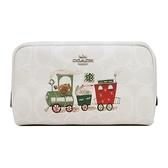 【南紡購物中心】COACH 立體馬車 C LOGO小火車印花化妝包鏡子掛飾禮盒組(小/粉筆白)