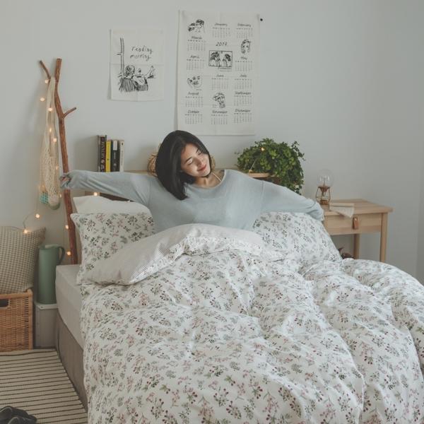 純棉 被套(鋪棉) 雙人【茉莉】ikea風格  100% 精梳純棉  翔仔居家