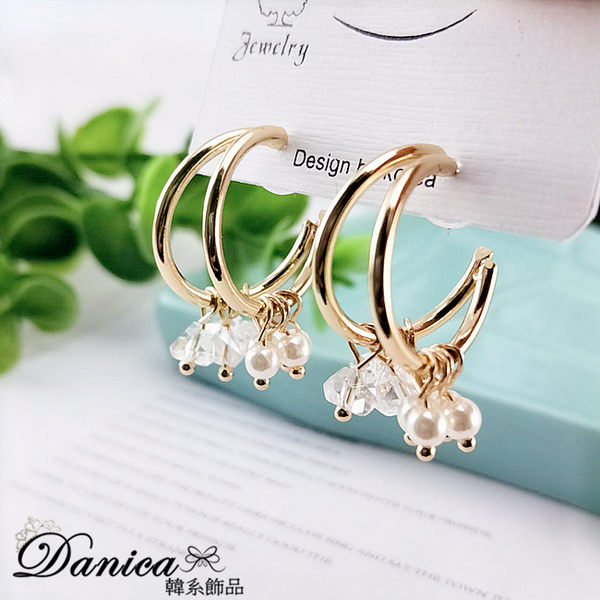 現貨不用等 韓國時尚氣質百搭幾何珍珠水晶垂墜925銀針耳環 S93295  批發價 Danica 韓系飾品