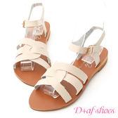 D+AF 輕夏話題.圓弧線條平底編織涼鞋*米杏