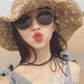 墨鏡女潮韓國復古茶色個性優雅新款太陽鏡圓臉方臉 時尚潮流