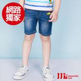 JJLKIDS 男童 黃色小車街頭風格牛仔五分褲(牛仔藍)