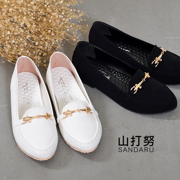 平底鞋 尖頭造型金釦平底鞋- 山打努SANDARU【101B9910#46】