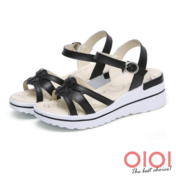 楔型涼鞋 線條美型真皮楔型涼鞋(黑)*0101shoes【18-A3535bk】【現貨】